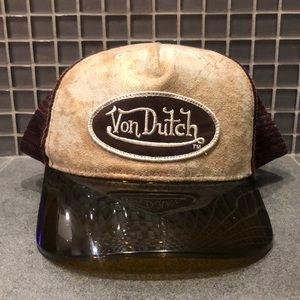 Vintage 90s Von Dutch Visor Hat Brown/Leather NWOT